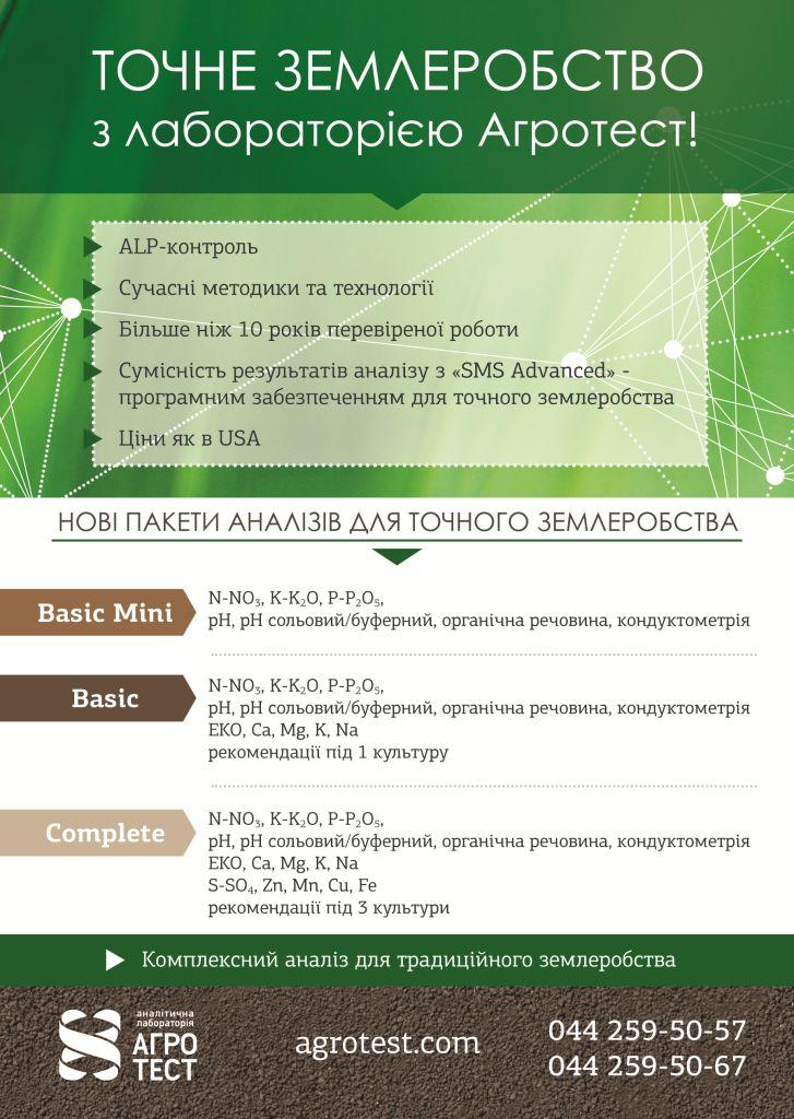 Пакети агрохімічного аналізу для точного землеробства