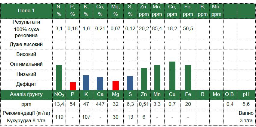 Результат анализа листовой диагностики