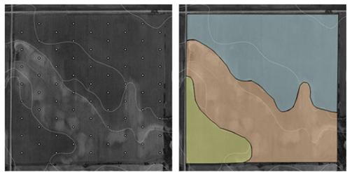 Примеры сетки и зонирования участка для отбора образцов почвы