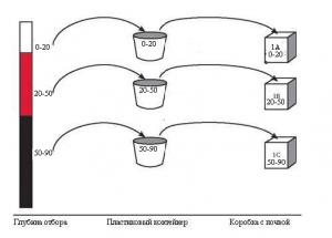 Отбор образцов почвы на разных глубинах